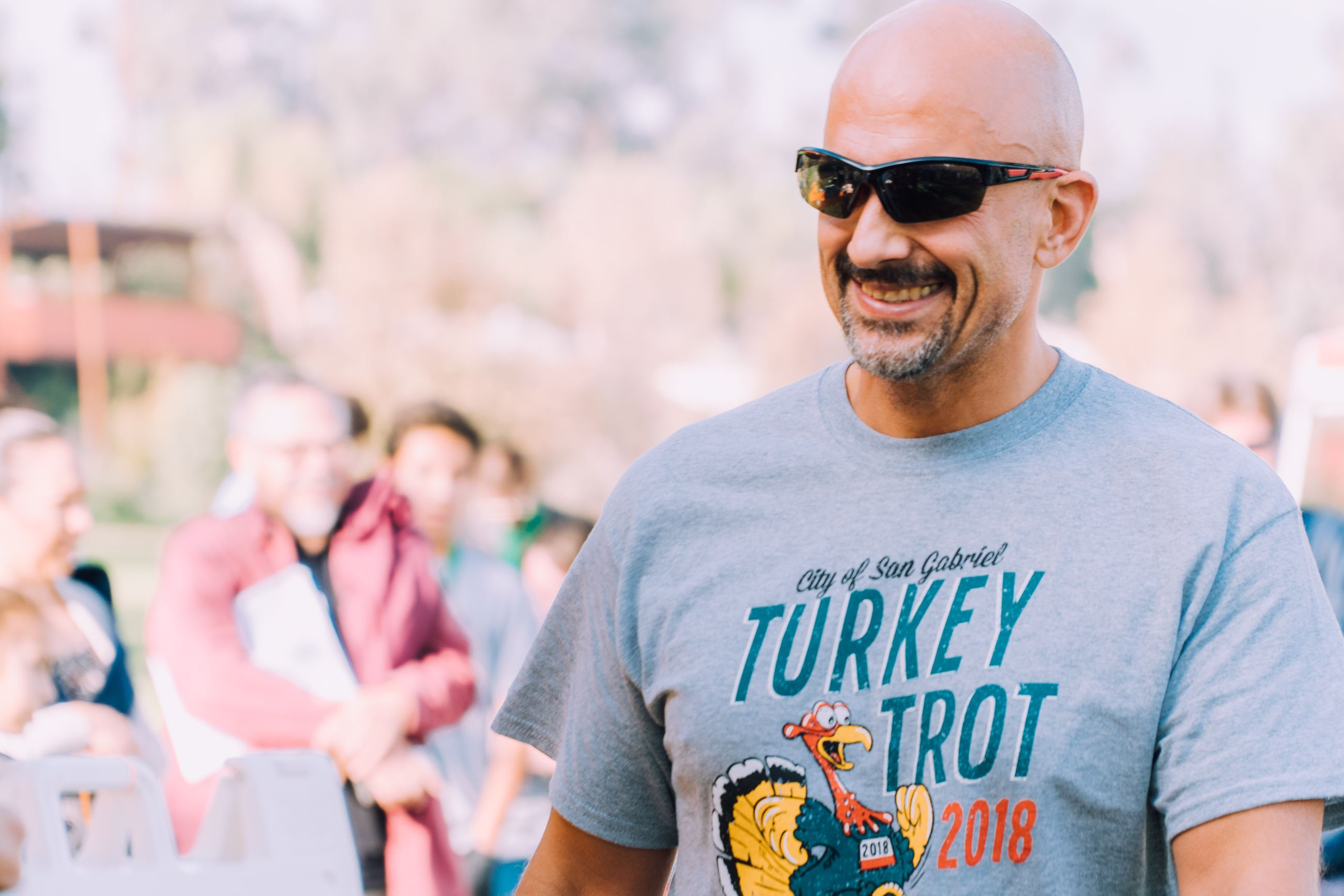 Male participant wearing Turkey Trot T-shirt