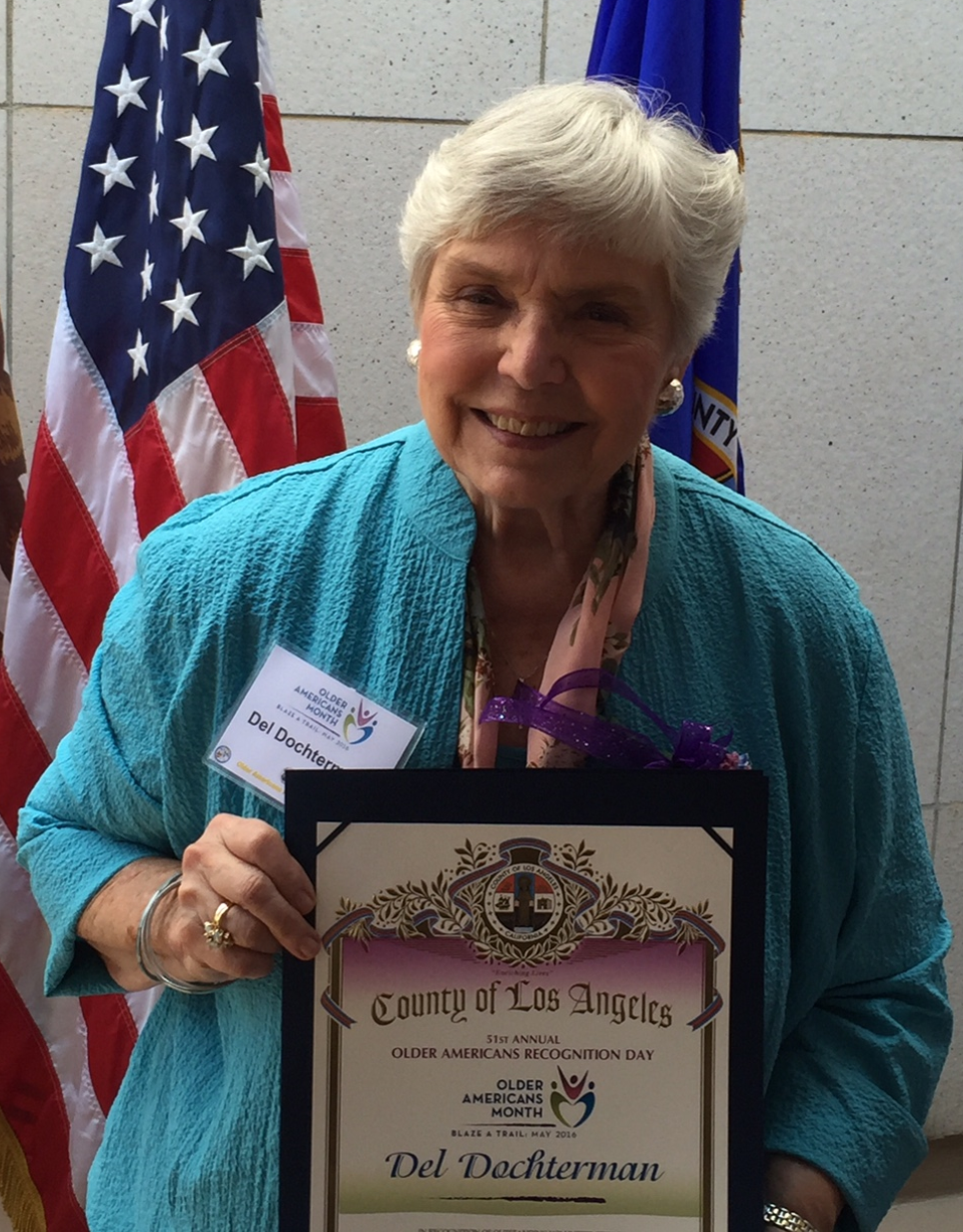 2017 Outstanding Older Adult Award Winner Holding Certificate