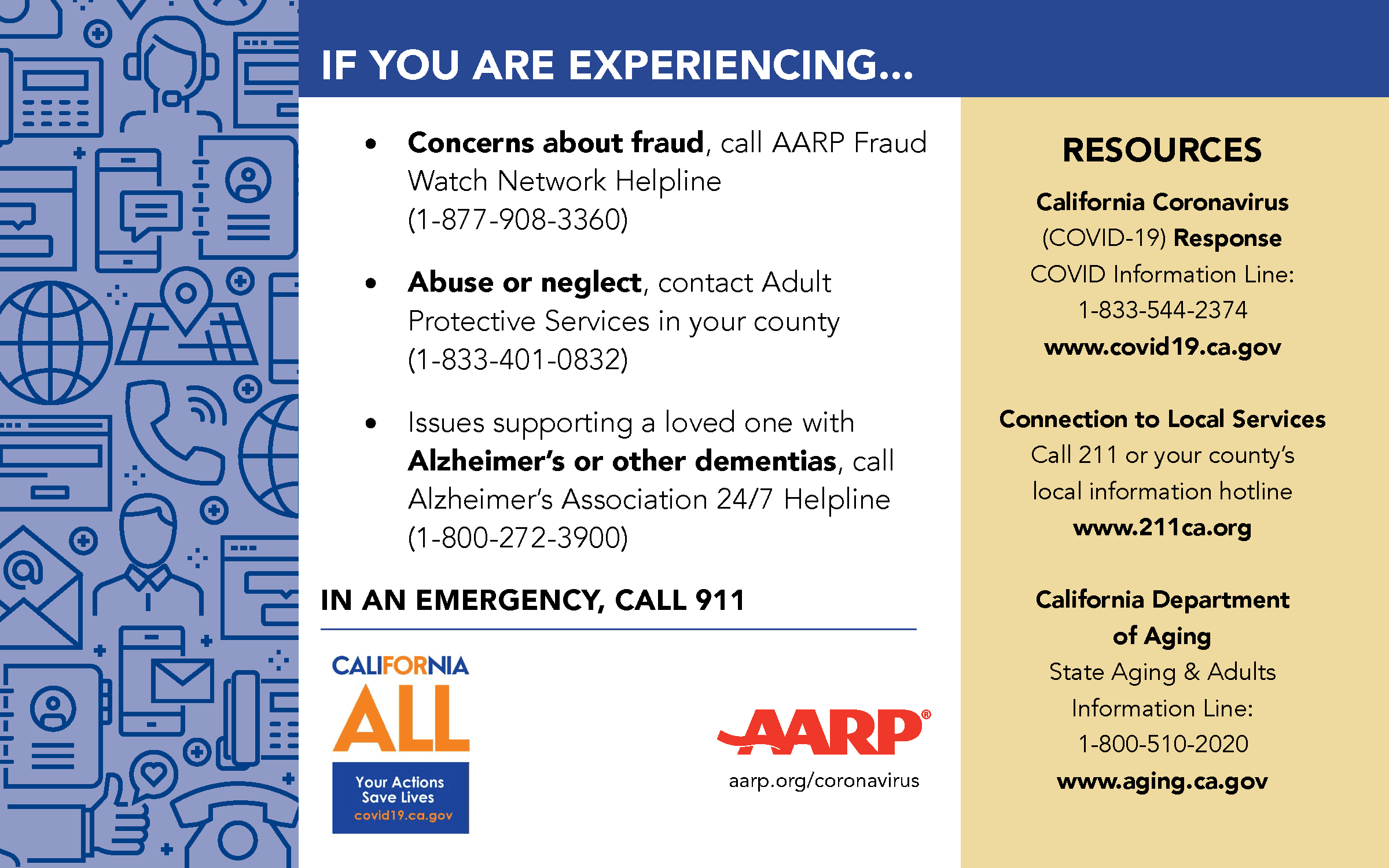 Image displaying older adult referrals from AARP and the State of CA.