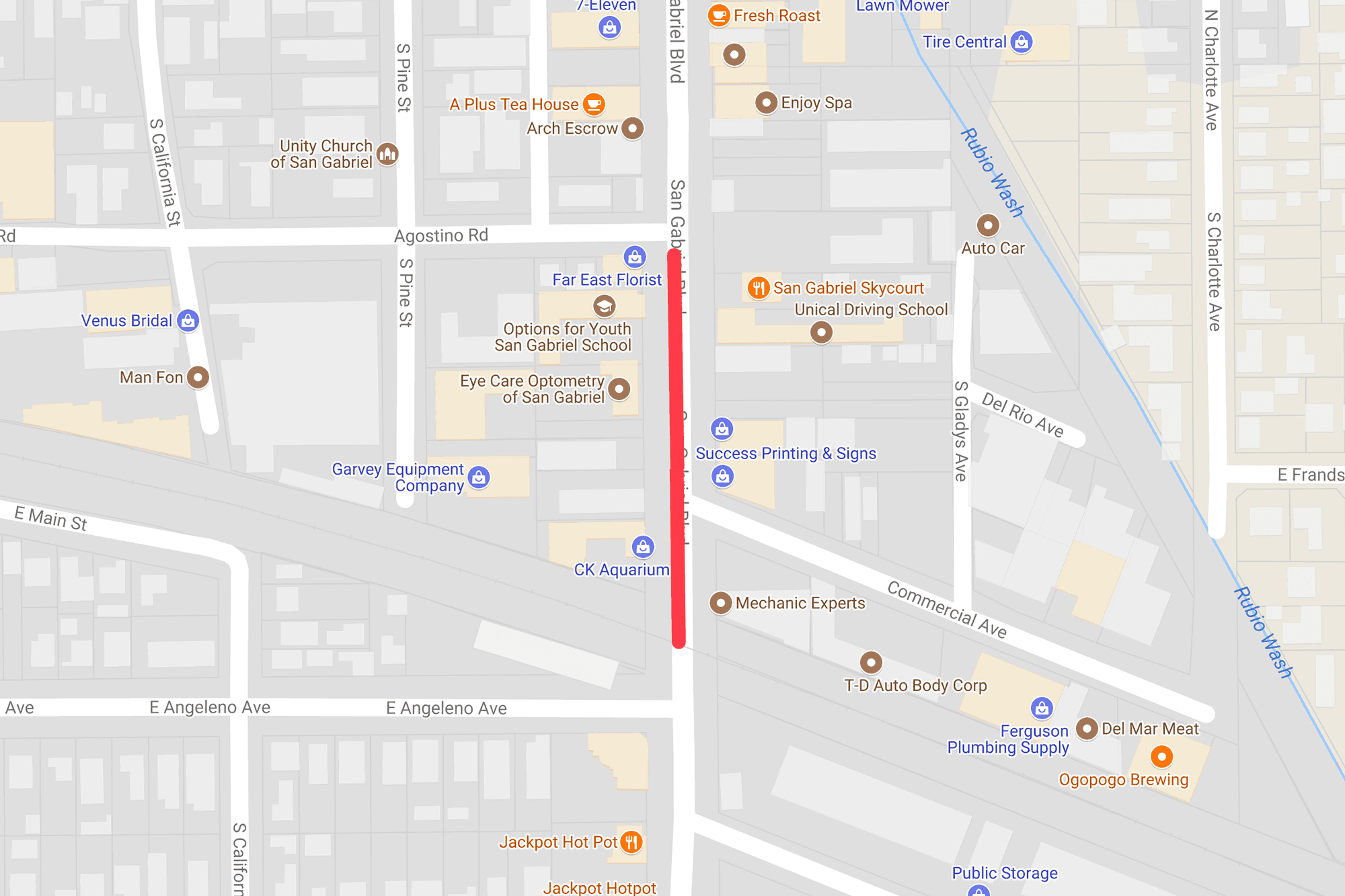 Construction on San Gabriel Blvd from Agostino Rd to trench