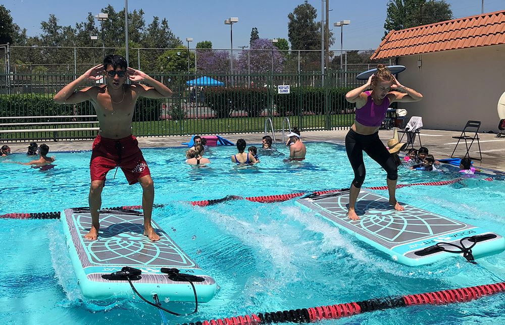 Sign up for BOGA yoga in the pool at Smith Pool Park