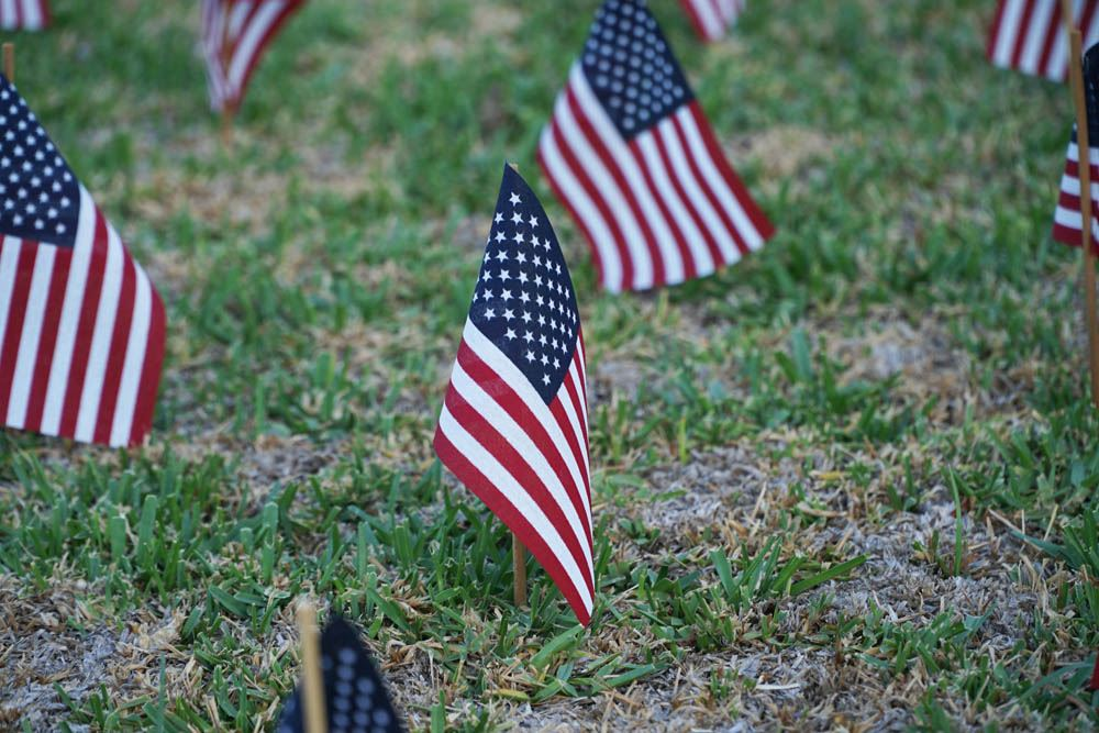 Flags representing the fallen officers, firefighters and emergency personnel of September 11