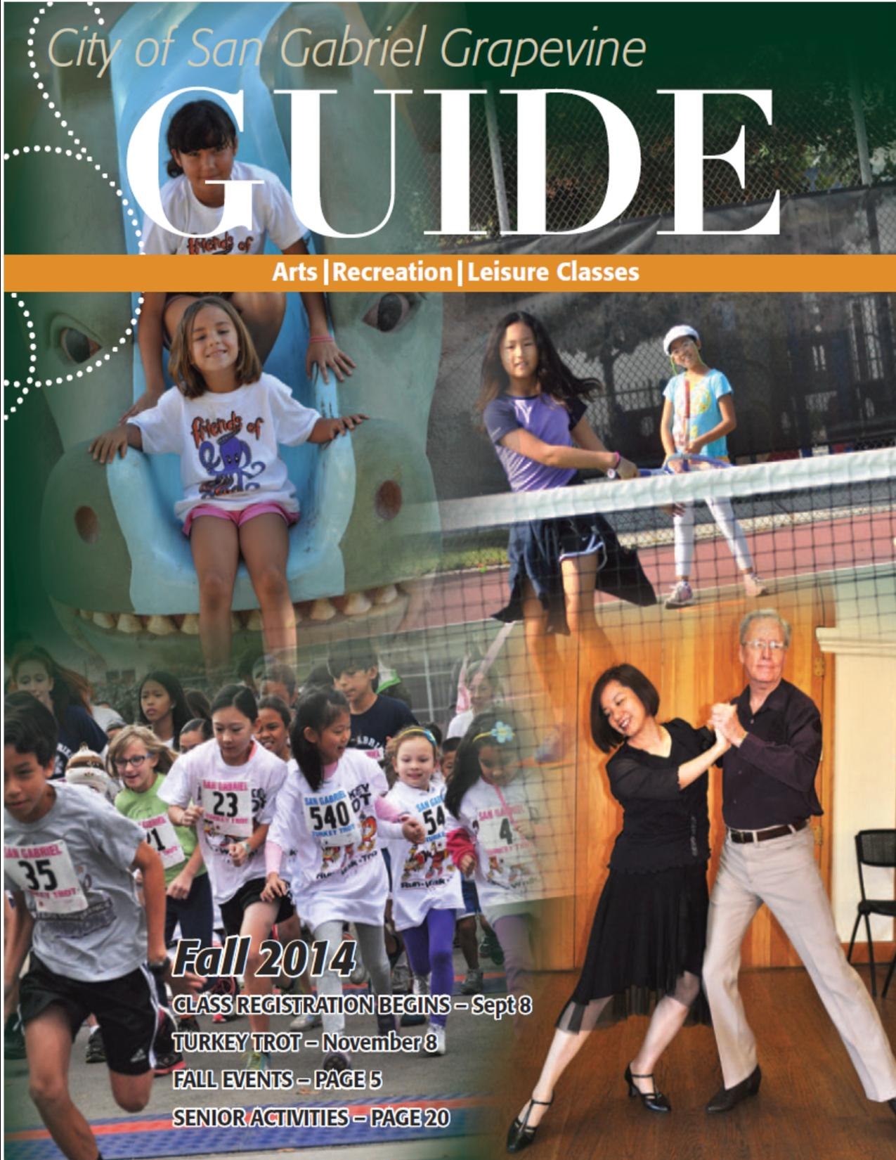 GUIDE Recreation Guide Rec Magazine SG Magazine san gabriel classes san gabriel magazine seniors youth adults community services parks and community services turkey trot